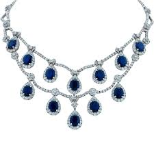 diamond necklace with sapphire images Impressive sapphire and diamond necklace at 1stdibs jpg