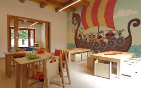 how to decorate a cozy space for children in public places vikings on the wall mural by pixers