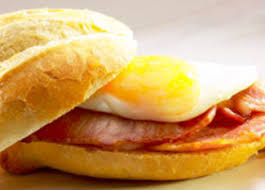 egg and bacon rolls