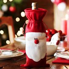 wholesale red wine bottle cover bags christmas dinner table