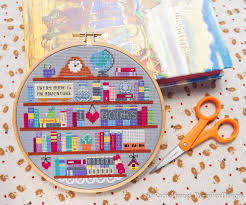 book lover s shelf bookshelf easy beginners cross stitch