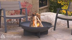 Fire Pit Mat by Real Flame Anson Wood Burning Fire Bowl Youtube