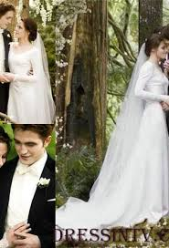 Bella Wedding Dress Kristen Stewart Long Sleeves Wedding Dress In Twilight Wedding
