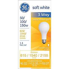 50 100 150 watt 3 way ge a 21 incandescent long life bulb soft