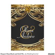 Elegant Invitation Cards Elegant Glam Black And Gold Wedding 5x7 Paper Invitation Card
