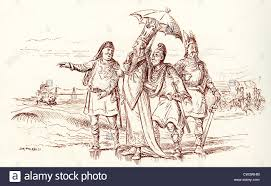 comic sketch by t s seccombe showing king canute and his courtiers