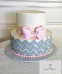 Pink U0026amp Grey Chevron Baby Shower Cake