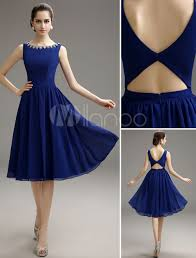 royal blue beaded chiffon knee length cocktail dress can choose