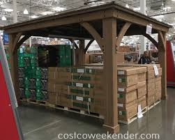 costco halloween decorations yardistry 12 u0027 x 14 u0027 cedar wood gazebo with aluminum roof costco