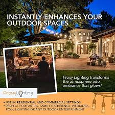 Edison Bulb Patio String Lights Proxy Lighting 48 Foot Weatherproof Outdoor String Lights Ul