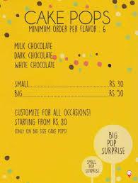 cake pop prices cake pop menu tardeo menu card prices rates cost tardeo