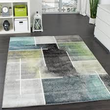 Einrichtung Teppich Wohnzimmer Modern Trendig Meliert Eyecatcher In Grau Türkis Grün Design Teppiche