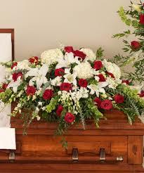casket sprays classic and white casket spray stadium flowers