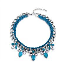 fashion statement collar necklace images Blue cascading statement collar necklace eshkol jpg