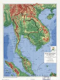 Map Of The Asia by Large Detailed Physical Map Of Siam Indochina And Malaya 1952