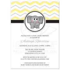 shower invitations elephant yellow gray chevron