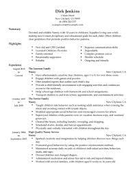 sample nanny resume resume example