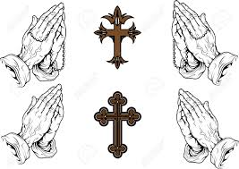 silhouettes of praying with a rosary and a cross royalty