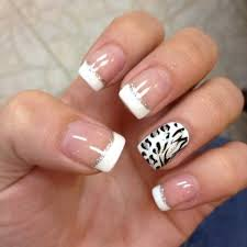 lace designed white french tips beautiful and artistically looking