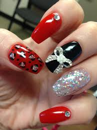 Nail Designs Cheetah Coffin Nails Black Silver Glitter Bling Cheetah Bow