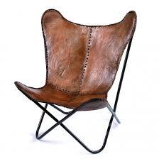 Butterfly Stol I Brunt Skinn MØBLER Smeltt Furniture - Butterfly chair designer