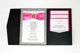 and black wedding invitations embellished paperie silver glitter hot pink and black