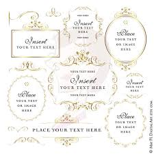 make your own wedding programs gold frames floral border jpeg jpg png files clip diy
