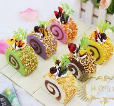 Home Decorated Cakes 30pcs Lot Colorful Squishy Cake 7cm L Swiss Roll Cake Fruit