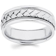 white gold mens wedding bands 14k white gold men s braided comfort fit wedding band free