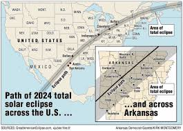 us map of arkansas map 2024 total solar eclipse path goes right arkansas