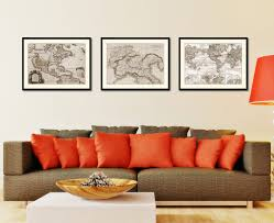 northern italy vintage sepia map home decor wall art bedroom