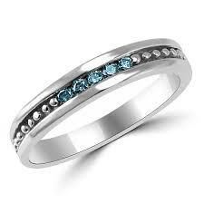 channel set wedding band men s channel set blue diamond wedding ring band