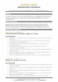 sample resume administrative coordinator sample administrative