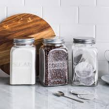 vintage glass canisters kitchen ksp vintage glass canister with lid set of 3 clear kitchen