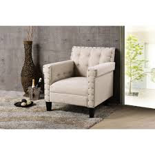 Upholstered Armchair by Baxton Studio Odella Modern And Contemporary Beige Linen