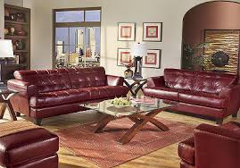cindy crawford sofas cindy crawford home avenue red leather 7 pc livingroom