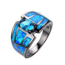 blue fashion rings images Hot selling light blue ocean blue fire opal ring men women fashion jpg