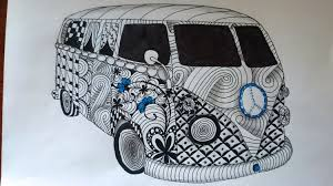 volkswagen bus drawing zentangle inspired vw kombi van zendoodle art youtube