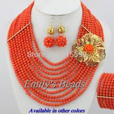 beaded coral necklace images Wholesale charming nigerian bead necklaces wedding champagne gold jpg