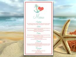 beach wedding menu card template wedding reception menu