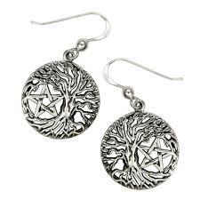 of yggdrasil pentacle pentagram earrings wiccan pagan jewelry