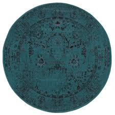 Over Dyed Distressed Rugs Over Dyed Distressed Traditional Teal Grey Area Rug 7 U00278 Round
