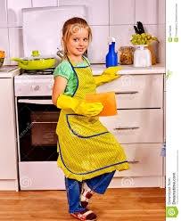 children cleaning kitchen stock photo image 54278999