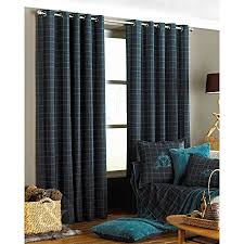 Black Check Curtains Tartan Check Curtains Black Grey Teal Blue Curtain Pair Ring