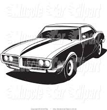 Pontiac Muscle Cars - automotive clipart of a black and white 1968 pontiac firebird by