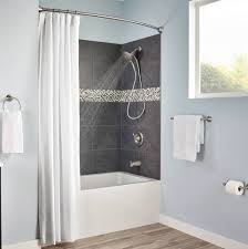 48 Curved Shower Curtain Rod Shop Moen 60 In Tension Mount Brushed Nickel Curved Adjustable
