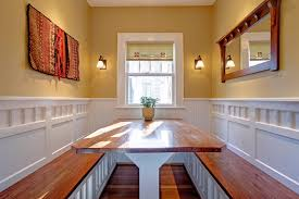 Beadboard Bench - built in table kitchen traditional with yellow wall wood table