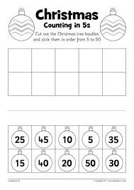 christmas counting in 5s cut and stick worksheets sb12250
