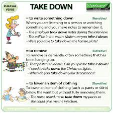 take down u2013 phrasal verb u2013 meanings and examples woodward english