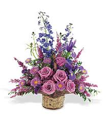 flower basket tf190 1 lavender blue flower basket victor the florist the